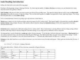 ionic bonding introduction 10th 12th grade worksheet lesson planet