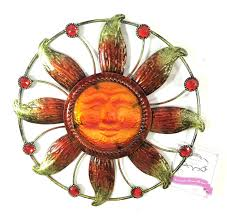 amazon com bejeweled display sun face w stain glass wall art