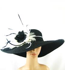 black kentucky derby hat with black rose and white