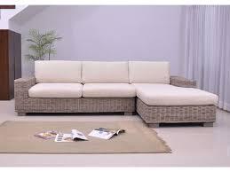 canapé en osier canapé d angle en rotin tressé et en tissu hevea