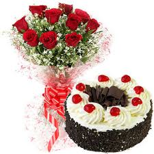 buy send order red roses bunch and 500gms black forest cake price