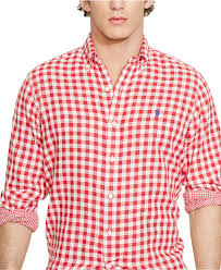 polo ralph lauren double faced checked shirt in red for men lyst