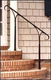 Metal Banister Rail Simple Elegant Wrought Iron Railing No Pickets Cast Iron Scroll
