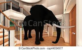 elephant in the living room elephant in the living room 3d rendering elephant in the picture
