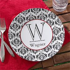 personalized melamine platter personalized melamine plate damask family name initial for