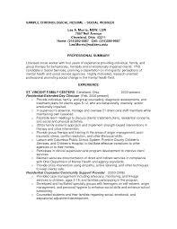 brilliant ideas of sample resume mental health social worker for