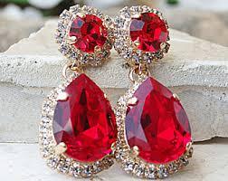 Red Chandelier Earrings Ruby Red Earrings Etsy