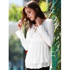 elastic waist blouse wholesale stylish plunging neck flare sleeve solid color