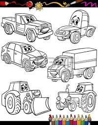 coloring book or page cartoon illustration of black and white cars