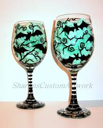 hand painted wine glasses bats halloween painted glassware