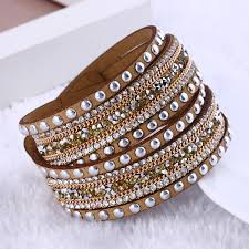 leather crystal bracelet images Fashion jewelry leather bracelet wrap multilayer crystal bracelet jpg