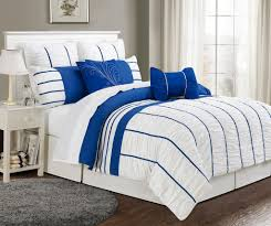 Cotton Bedding Sets Marvelous White King Comforter Sets With Royal Blue Strips Detail