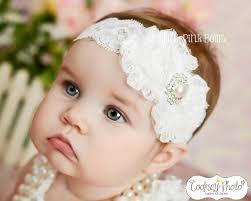 baby headband white baby headband shabby chic headband christening headband