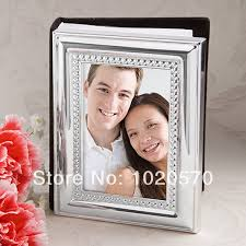 silver photo album wedding favors of silver metal frame design photo album place card