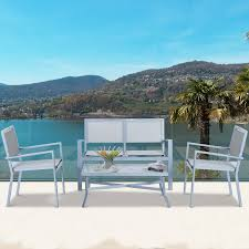 outsunny 4 pc sling patio furniture sofa coffee table chair