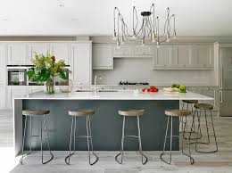 light gray kitchen cabinets with dark gray island transitional