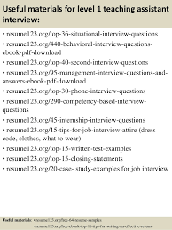Resume For Teaching Assistant Top 8 Level 1 Teaching Assistant Resume Samples