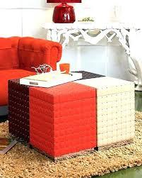 Vinyl Orange Ottoman Storage Ottoman Orange Scoping Me
