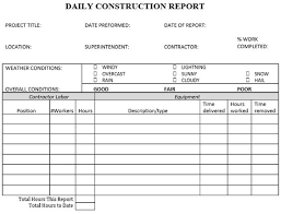 daily site report template daily construction report template tomu co