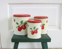 apple canisters for the kitchen canisters etsy