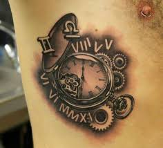 roman numerals gears and clock tattoos for men jpg 661 600