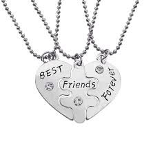 best friends heart necklace images Best friends forever necklace engraved bff rhinestone love heart jpg