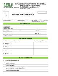 form daftar riwayat hidup pdf fillable online padmana grady blog ugm ac form cv iali dan kode etik
