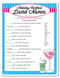 Games For Cocktail Parties - printable holiday cocktail drink names funsational com what u0027s