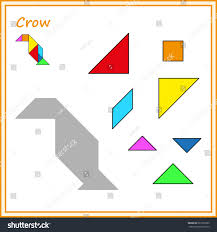 chinese puzzle tangram cut glue vector stock vector 667975369