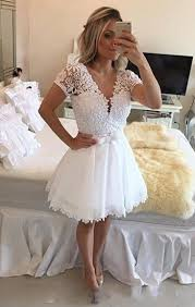 all white graduation dresses 2018 white homecoming dresses sleeves v neck lace