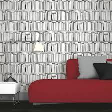 Grey Wallpaper Living Room Uk Muriva Library Pattern Book Shelf Motif Vinyl Mural Wallpaper 578429