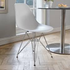 Metal Armchair Eiffel Dining Chair With Metal Legs White Dwell
