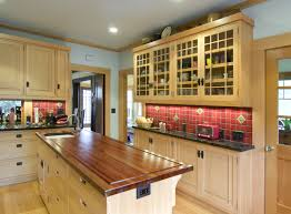 mission style kitchen island wood countertops craftsman style kitchen cabinets lighting