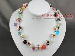 necklace stone bead images Fashion dyed colorful pearl and multi teardrop stone beads necklace jpg