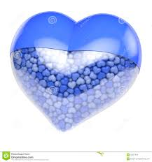 blue heart shaped pill capsule filled with small tiny hearts as