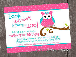pink and teal owl birthday invitations by paper monkey company