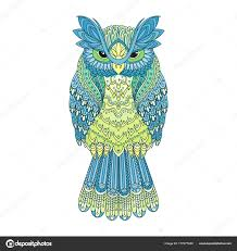 Patterned Flying Owl Drawing Illustration Vector Zentangle Owl Illustration Ornate Patterned Bird Picture