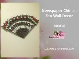 oriental fan wall hanging d i y newspaper chinese fan wall decor tutorial youtube
