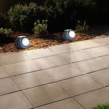 Landscaping Solar Lights by Solar Powered Rock Lights Set Of Four Low Voltage Led Outdoor