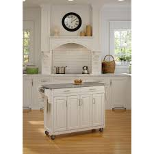 home styles create a cart white kitchen cart with quartz top 9100