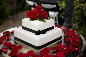 Red And Black Wedding Classic 2 Tier White Wedding Cake With Red And Black Accents And