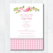 pink feather her nest baby shower invitation country chic