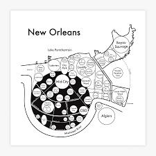 Portland Neighborhood Map Poster by New Orleans Map 8 X 8 Letterpress Beautiful