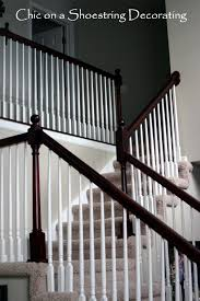 Sanding Banister Chic On A Shoestring Decorating How To Stain Stair Railings And