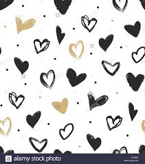 heart wrapping paper doodle hearts in black and gold seamless pattern simple