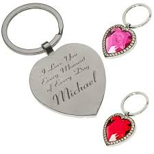 Engravable Items Custom Engraved Heart Jewelery Key Chain With Stone