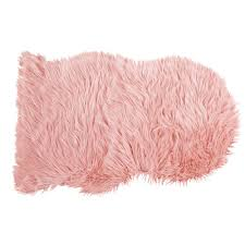 blush pink faux fur sheep rug 90x60 maisons du monde