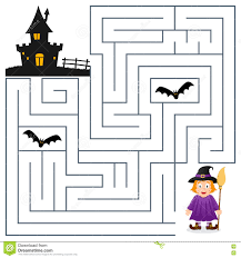 halloween maze witch and haunted house stock vector image