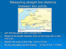 distance between two points map measuring the length and distance ppt