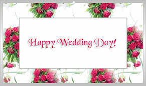 happy wedding day wedding day on flowers background